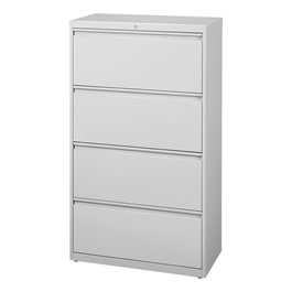 """Lateral File Cabinet w/ Four Drawers (30\"""" W) - Gray"""