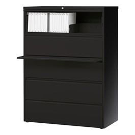 "Lateral File Cabinet w/ Five Drawers (42"" W) - Black"