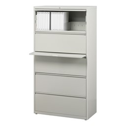 """Lateral File Cabinet w/ Five Drawers (30"""" W) - Gray"""
