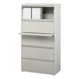 "Lateral File Cabinet w/ Five Drawers (30"" W) - Gray"