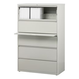 """Lateral File Cabinet w/ Five Drawers (36"""" W) - Gray"""