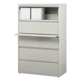 "Lateral File Cabinet w/ Five Drawers (36"" W) - Gray"