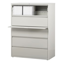 """Lateral File Cabinet w/ Five Drawers (42"""" W) - Gray"""