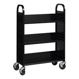 One-Sided Rolling Book Cart - Black