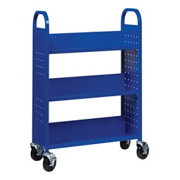 One-Sided Rolling Book Cart - Blue
