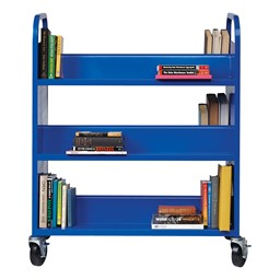 Double-Sided Sloped-Shelf Book Cart - Blue