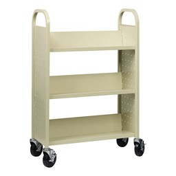 One-Sided Rolling Book Cart - Putty