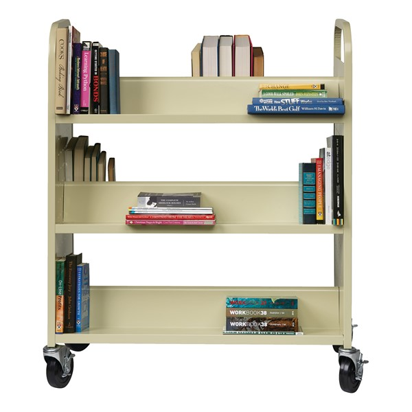 Double-Sided Sloped-Shelf Book Cart - Putty