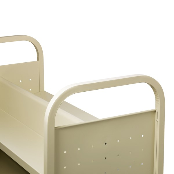 Double-Sided Sloped-Shelf Book Cart - Handle