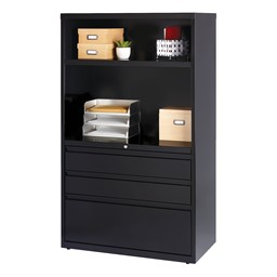 """Three-Drawer Combination Lateral File (36"""" W) - Black"""