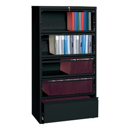 "Lateral File Cabinet w/ Four Roll-Out Shelves (36"" W) - Black"