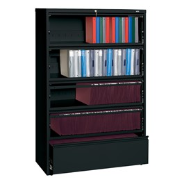 "Lateral File Cabinet w/ Four Roll-Out Shelves & Fixed Bottom Shelf (42"" W) - Black"