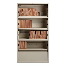 "Lateral File Cabinet w/ Four Roll-Out Shelves (36"" W) - Putty"
