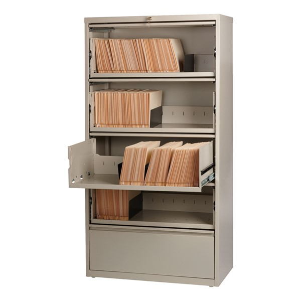 "Lateral File Cabinet w/ Four Roll-Out Shelves & Fixed Bottom Shelf (36"" W) - Putty"