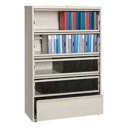 "Lateral File Cabinet w/ Four Roll-Out Shelves (42"" W) - Putty"