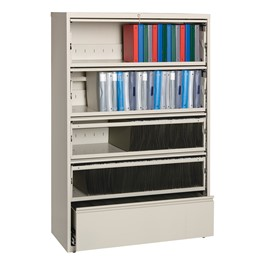 """Lateral File Cabinet w/ Four Roll-Out Shelves & Fixed Bottom Shelf (42\"""" W) - Putty"""