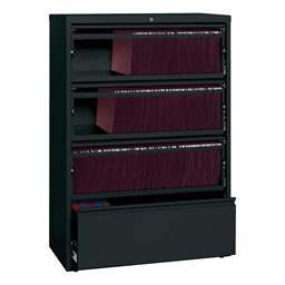 "Lateral File Cabinet w/ Three Roll-Out Shelves (36"" W) - Black"