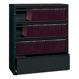 "Lateral File Cabinet w/ Three Roll-Out Shelves (42"" W) - Black"