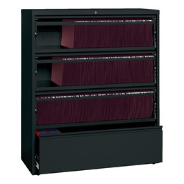 """Lateral File Cabinet w/ Three Roll-Out Shelves & Fixed Bottom Shelf (42\"""" W) - Black"""