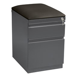 Two Drawer Mobile Pedestal Cabinet w/ Seat - Charcoal