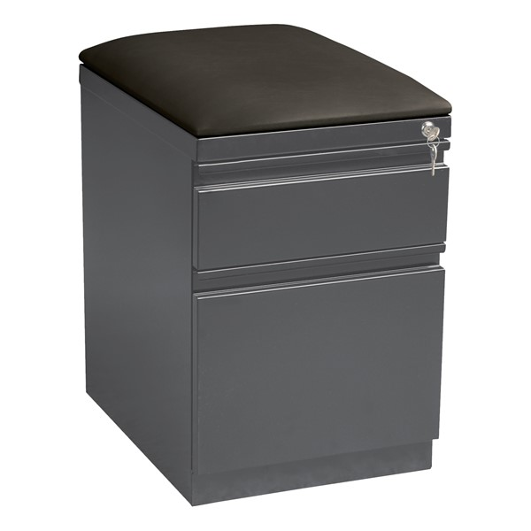 """Two Drawer Mobile Pedestal Cabinet w/ Seat (20"""" D) - Charcoal"""