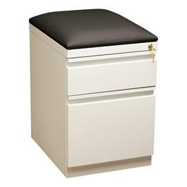 "Two Drawer Mobile Pedestal Cabinet w/ Seat (20\"" D) - White"