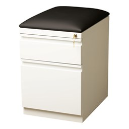 Two Drawer Mobile Pedestal Cabinet w/ Seat - White