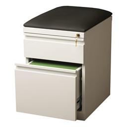 "Two Drawer Mobile Pedestal Cabinet w/ Seat (20"" D) - White"