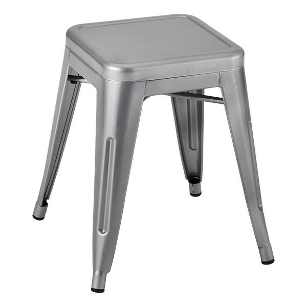 "Metal Stack Stool - 18"" H - Silver"