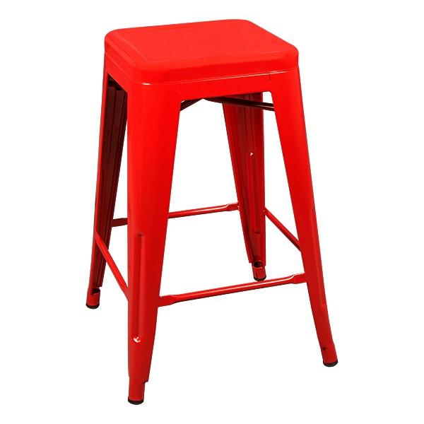 """Metal Stack Stool - 24"""" H - Red"""