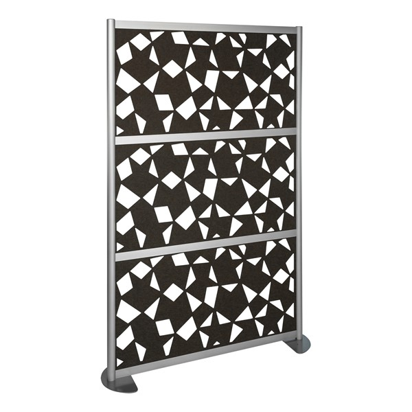 "Modern Privacy Panel w/ Fractal Pattern Infill Panels (4' 4"" W x 6' 6"" H) - Charcoal"