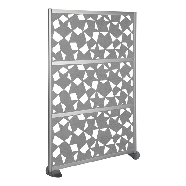 """Modern Privacy Panel w/ Fractal Pattern Infill Panels (4' 4"""" W x 6' 6"""" H) - Marble"""