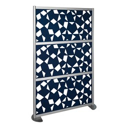 """Modern Privacy Panel w/ Fractal Pattern Infill Panels (4' 4"""" W x 6' 6"""" H) - Midnight"""