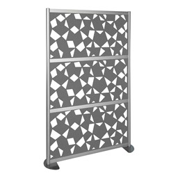 "Modern Privacy Panel w/ Fractal Pattern Infill Panels (4' 4"" W x 6' 6"" H) - Steel"