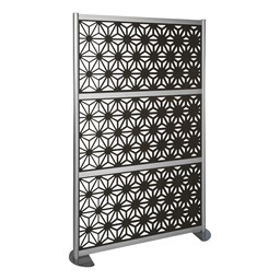 """Modern Privacy Panel with Kaleidoscope Top Pattern Infill Panels (4' 4"""" W x 6' 6"""" H) - Charcoal"""