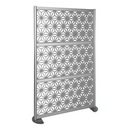 """Modern Privacy Panel with Kaleidoscope Top Pattern Infill Panels (4' 4"""" W x 6' 6"""" H) - Marble"""