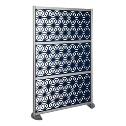 """Modern Privacy Panel with Kaleidoscope Top Pattern Infill Panels (4' 4"""" W x 6' 6"""" H) - Midnight"""