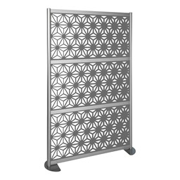 """Modern Privacy Panel with Kaleidoscope Top Pattern Infill Panels (4' 4"""" W x 6' 6"""" H) - Steel"""