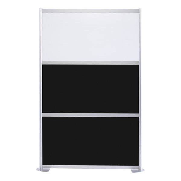 """Modern Privacy Panel w/ Colored & Translucent Infill Panels (4' 4"""" W x 6' 6"""" H) - Black w/ White Panel"""