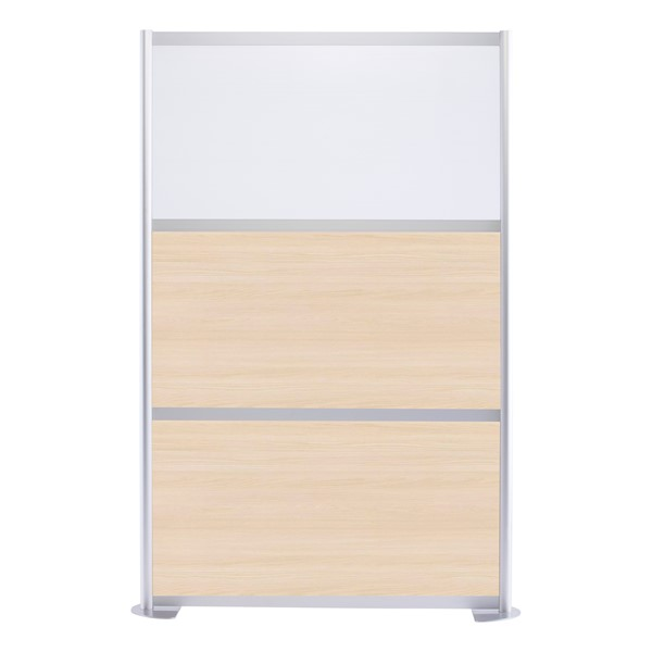 """Modern Privacy Panel w/ Colored & Translucent Infill Panels (4' 4"""" W x 6' 6"""" H) - Elm w/ White Panel"""