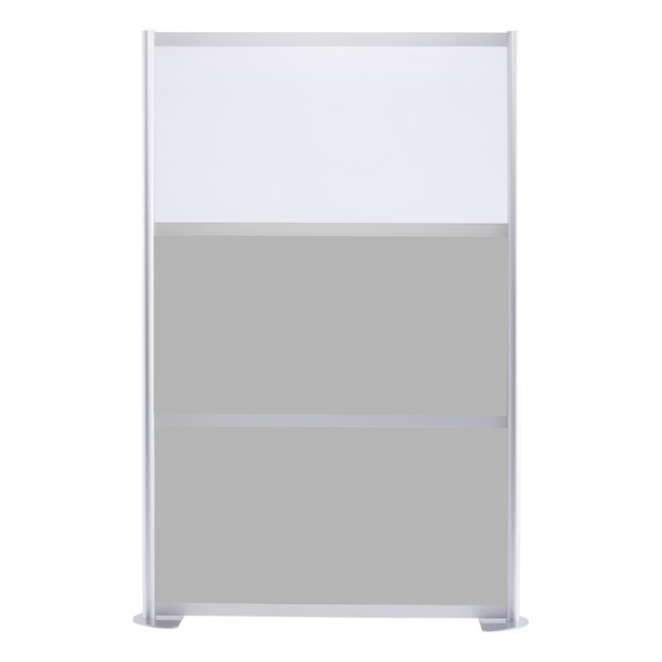"""Modern Privacy Panel w/ Colored & Translucent Infill Panels (4' 4"""" W x 6' 6"""" H) - Gray w/ White Panel"""