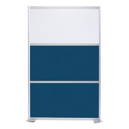 """Modern Privacy Panel w/ Colored & Translucent Infill Panels (4' 4"""" W x 6' 6"""" H) - Navy Blue w/ White Panel"""