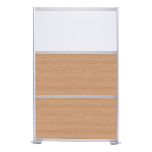 """Modern Privacy Panel w/ Colored & Translucent Infill Panels (4' 4"""" W x 6' 6"""" H) - Oak w/ White Panel"""