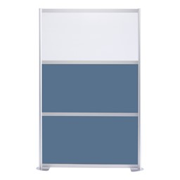 """Modern Privacy Panel with Colored and Translucent Infill Panels  (4' 4"""" W x 6' 6"""" H) - Slate Blue w/ White Panel"""