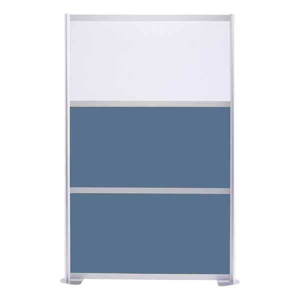 """Modern Privacy Panel w/ Colored & Translucent Infill Panels (4' 4"""" W x 6' 6"""" H) - Slate Blue w/ White Panel"""