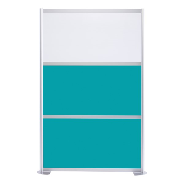 """Modern Privacy Panel w/ Colored & Translucent Infill Panels (4' 4"""" W x 6' 6"""" H) - Teal w/ White Panel"""