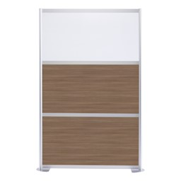 """Modern Privacy Panel w/ Colored & Translucent Infill Panels (4' 4"""" W x 6' 6"""" H) - Walnut w/ White Panel"""