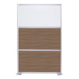 """Modern Privacy Panel w/ Colored & Translucent Infill Panels (4\' 4\"""" W x 6\' 6\"""" H) - Walnut w/ White Panel"""