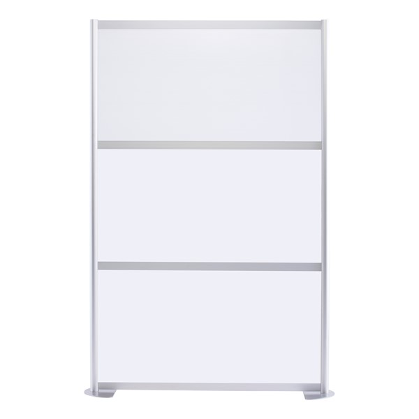 """Modern Privacy Panel w/ Colored & Translucent Infill Panels (4' 4"""" W x 6' 6"""" H) - White w/ White Panel"""