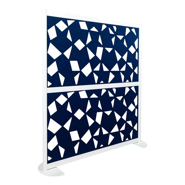 """Modern Privacy Panel w/ Fractal Pattern Infill Panels (4' 4"""" W x 4' 5"""" H) - Midnight"""